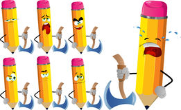 Set of sad pencils with axe Stock Image