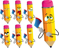 Set of sad pencils with an axe Stock Images