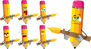 Set of sad pencils with bazooka Royalty Free Stock Images