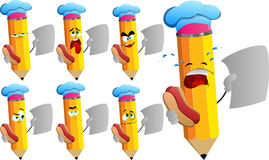 Set of sad pencils chef holding hot dog and blank paper Royalty Free Stock Photo