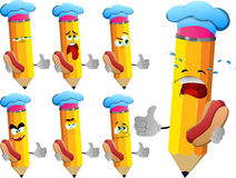 Set of sad pencils chef with hot dog showing thumb up Stock Photography