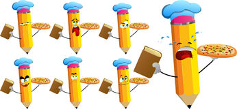 Set of sad pencils chef with pizza and a book Royalty Free Stock Image