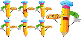 Set of sad pencils chef with pizza and money Stock Images