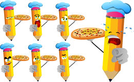 Set of sad pencils chef with pizza pointing at viewer Stock Photos