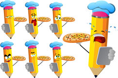 Set of sad pencils chef with pizza and tablet Royalty Free Stock Image