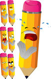 Set of sad pencils clapping Royalty Free Stock Images