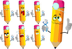 Set of sad pencils dentist holding teeth with attitude Royalty Free Stock Photos