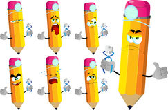Set of sad pencils dentist holding teeth with thumb up Royalty Free Stock Photo