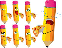 Set of sad pencils eating pizza Stock Images
