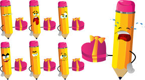 Set of sad pencils with gift for Valentines Day Royalty Free Stock Image