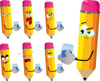 Set of sad pencils with a glass of water Royalty Free Stock Photo