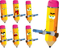 Set of sad pencils with a gun Royalty Free Stock Photography