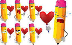 Set of sad pencils with heart balloon Royalty Free Stock Photography