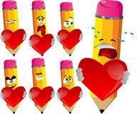 Set of sad pencils holding a big red heart Royalty Free Stock Photography