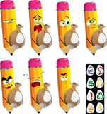 Set of sad pencils holding a big sack with variable signs Stock Image