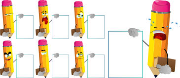 Set of sad pencils holding book and big blank board Royalty Free Stock Photography