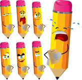 Set of sad pencils holding contract Stock Photography