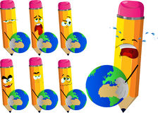 Set of sad pencils holding Earth Royalty Free Stock Photography