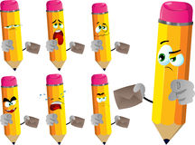Set of sad pencils holding an envelope and pointing at viewer Royalty Free Stock Photo