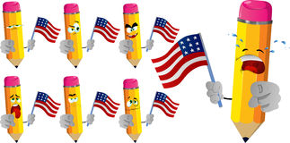 Set of sad pencils holding the flag of the USA and pointing at viewer Stock Images