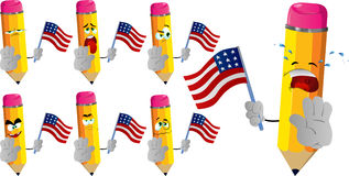 Set of sad pencils holding the flag of the USA and a stop sign Stock Images