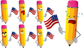 Set of sad pencils holding the flag of the USA Royalty Free Stock Photography