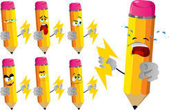 Set of sad pencils holding lighting and pointing at viewer Stock Photos