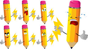 Set of sad pencils holding lighting with thumb up Royalty Free Stock Images