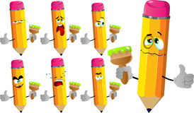 Set of sad pencils holding a paint brush and showing thumb up Royalty Free Stock Image