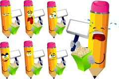 Set of sad pencils holding popcorn and blank board Royalty Free Stock Images