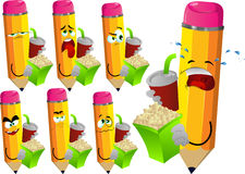 Set of sad pencils holding popcorn and soft drink Royalty Free Stock Images