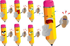 Set of sad pencils holding ringing phone and holding a stop sign Royalty Free Stock Photography