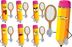 Set of sad pencils holding a tennis rocket Royalty Free Stock Photo