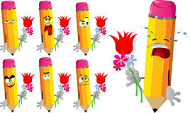 Set of sad pencils holding tulip and other flowers Stock Photos