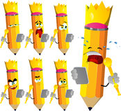 Set of sad pencils king with tablet Stock Photography