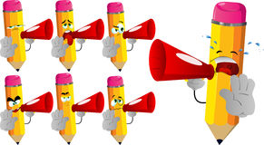 Set of sad pencils with megaphone and holding a stop sign Royalty Free Stock Image