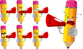 Set of sad pencils with megaphone and pointing at viewer Stock Photos