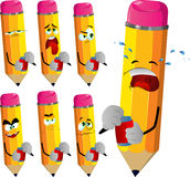 Set of sad pencils opening a beer can Royalty Free Stock Photo