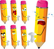 Set of sad pencils showing time out sign Royalty Free Stock Image