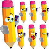 Set of sad pencils speaking on a smartphone while reading a tablet Royalty Free Stock Image