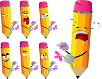 Set of sad pencils tearing petals from a flower Royalty Free Stock Images
