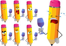 Set of sad pencils with wine glass Royalty Free Stock Image