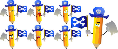 Set of sad pirate pencils with blank paper and pirate flag Royalty Free Stock Image