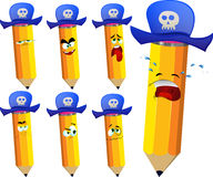 Set of sad pirate pencils wearing pirate hat Royalty Free Stock Images
