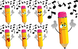 Set of sad singing pencils Royalty Free Stock Images