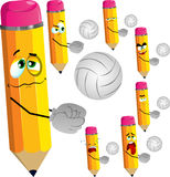 Set of sad volleyball player pencils Stock Images
