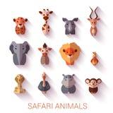 Set of Safari animals. Flat style. Vector Stock Photo
