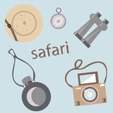Set for safari on a gray background vector illustration