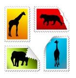 Set of safari post stamps stock illustration