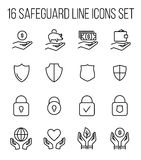 Set of safeguard icons in modern thin line style. Royalty Free Stock Photo